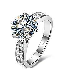 3CT Star 品牌纯银周年纪念戒指适用于妻子 NSCD 仿钻微钻