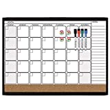 Quartet Dry Erase Cork Calendar Board Combo Value Pack, Magnetic, Black Frame (44202-BK)