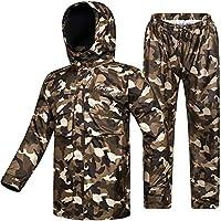 ILM 摩托车雨衣 防水耐磨 6口袋 2件套 夹克和裤子 适合男士 女士 Men's Large * ILM-RS02