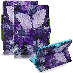 iPad mini 保护套 ipad mini 2手机壳 ipad mini 3保护套、 dteck 轻质修身翻盖支架 PU 皮革保护套带自动唤醒/休眠智能保护套适用于 Apple iPad mini 3/ 2/ 1 AC_Purple Butterfly