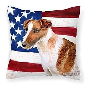 Caroline's Treasures BB9647PW1414 Smooth Fox Terrier Patriotic 户外帆布枕,多色