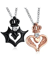 """Aeici Jewelry Stainless Steel Heart Necklace for Couple CZ Pendant """"with wish love and happ iness""""  A7-Couple"""
