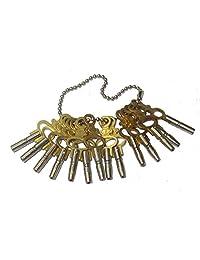 黄铜祝福 14 件套装 适用于口袋手表 缠绕钥匙 (5022)
