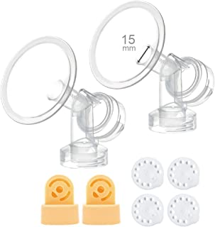 36 mm 2xOne-Piece Small Breastshield w/Valve and Membrane for Medela Breast Pumps; Replacement to Medela PersonalFit 36 Breastshield and Personal Fit Connector; Made by Maymom 15 mm (XS-)