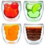 Curva Artisan 系列双壁饮料玻璃杯和杯子 - 独特的 226.8 克隔热饮用水杯,4 件套 透明 8盎司 DW080AS