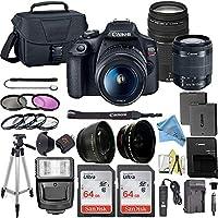 Canon 佳能 EOS Rebel T7 数码单反相机套装 带佳能 18-55mm 镜头 + 2 件 SanDisk 64GB 内存卡 + 配件套装CANON (ZT) Canon 18-55mm + Canon 75-300mm + 2X 64GB