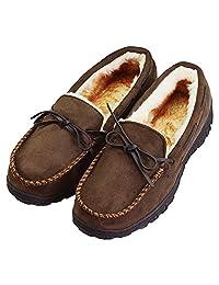 vlly 男式加厚毛绒内衬细羊皮室内户外一脚蹬软帮鞋拖鞋 (FBA)