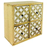 Geko 方形橱柜,带 4 个抽屉,实木,浅棕色和白色,23 厘米