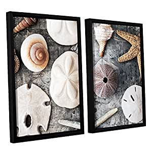 "ArtWall 4 Piece Elana Ray's Treasures from the Sea Staggered Set Floater Framed Canvas, 24 x 36"", Multicolor"
