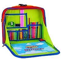 创意儿童旅行娱乐桌 - 便携式汽车座椅托盘收纳袋 带绘画套装 - 背包活动站带存储器,可用于平板电脑、蜡笔、手工艺品和其他旅行用品 - 30 件套件