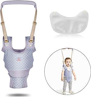 婴儿行走胸背带,宝宝坐立学习辅助器 网眼透气可调节 带可拆卸裆部*手持助手 适合学步儿童 灰色