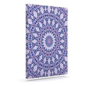 """Kess InHouse Iris Lehnhardt""""万花筒蓝色""""圆形蓝色户外帆布墙艺术 20"""" x 24"""" 蓝色 IL2016AAC04"""