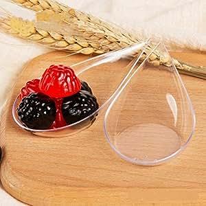 LORESO 泪滴开胃菜汤勺,适用于甜点、蛋糕和甜点盘子 – 50 支透明塑料盛装汤匙,适用于所有场合 – 可重复使用和一次性使用 透明