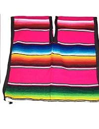 Mexican Poncho 中性亮条纹棉质墨西哥风格 Sarape zarape 波西米亚嬉皮士儿童