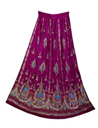 RADHY KRISHNA FASHIONS 紫色瑜伽 Trendz 女式亮片褶皱Broomstick 吉普赛长裙