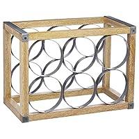 KitchenCraft 工业厨房复古风格 6 瓶金属/木质*架,24.5 x 17.5 x 34 厘米(9.5 x 7 x 13.5 英寸)