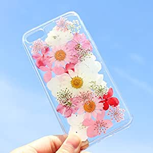iPhone 8/iPhone 7 手机壳(4.7 英寸),Blingy's Flower 系列透明软橡胶 TPU 透明手机壳 iPhone 8/iPhone 7 粉色和红色花朵