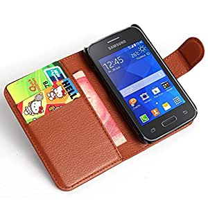 JUJEO Litchi PU Leather Cover with Wallet & Stand for Samsung Galaxy Young 2 SM-G130 - Brown - Non-Retail Packaging - Brown
