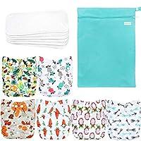 Wegreeco 可水洗可重复使用婴儿布袋尿布 6 件装 + 6 个插袋 + 1 个湿袋 Fruits, Animals + 1 Wet Bag 均码