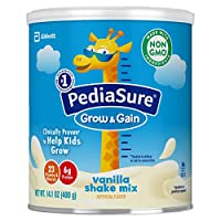 PediaSure 雅培小安素 Grow & Gain 儿童营养奶昔 Non-GMO,含蛋白质、DHA、抗氧化剂、维生素和矿物质,香草味,14.1盎司/400克,6 件