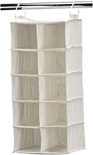 Household Essentials Double Row Hanging 10 Packet Shoe Storage Organizer, Natural Canvas 67.3 cm X 30.5 cm X 30.5 cm