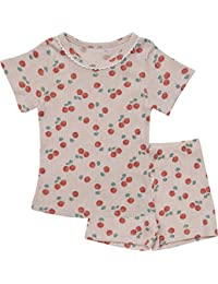 AVAUMA 设计新生儿小男孩女孩睡衣夏季罗纹短袖套装 儿童服装
