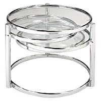 New Spec Cota 铬合金框架和玻璃 3 层旋转运动咖啡桌