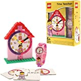 """LEGO Girls' 9005039 """"Time Teacher"""" Set with Plastic Watch, Constructible Clock, and Activity Cards"""