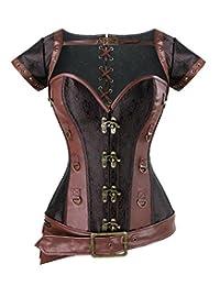 Charmian 女士螺旋钢骨架哥特复古长束腰胸衣紧身胸衣