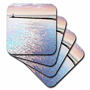 3dRose cst_19401_1 Breakwall Reaching Into The Waters of Lake Superior in Michigans Upper Peninsula-Soft Coasters, Set of 4