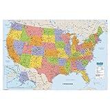 "House of Doolittle 可写/撕掉层压世界地图 127 x 83.82 厘米 (HOD710) United States Map 38"" x 25"" Mulit"