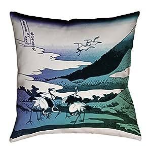 "ArtVerse Katsushika Hokusai 日式起巨人 x 35.56cm Pillow-棉斜纹双面印花带隐形拉链和嵌片 16"" x 16"" HOK028P1616J"