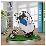 10L0L 高尔夫球笔带高尔夫球袋支架,新奇礼物,带 3 件铝合金笔,办公桌高尔夫球袋,男士父亲节,高尔夫纪念品送给高尔夫球迷的独特礼物 蓝色和白色