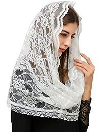Pamor Infinity 花卉头巾 天主教堂 Veil 头巾 拉发 蕾丝 Mantilla 免费发夹
