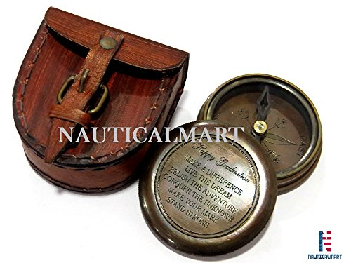 NAUTICALMART」幸せな卒業引用ソリッドイエローギフト用の箱と銅のアンティークコンパス