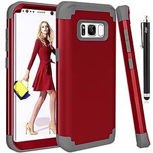 ZxU 双层混合装甲保护 Galaxy S8 Plus 手机壳减震高冲击防撞保护套[适合儿童] 适用于三星 Galaxy S8 Plus / S8+(2017)带 1 支触控笔 红色