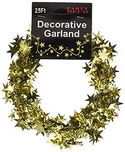 派对装饰铝箔星星花环,25' ,金色