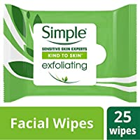 Simple, Facial Wipes, Exfoliating - 25 Wipes