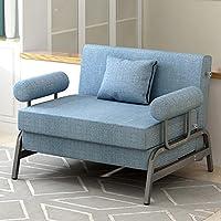 懒人沙发布艺卧室小沙发阳台简易沙发小户型双人沙发床卧室榻榻米折叠沙发 (浅湖蓝, 80cm)