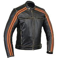 "Bikers Gear Australia 經典復古風格 ""The Bonnie"" 牛皮摩托車夾克 CE1621-1 可拆卸盔甲 - 象牙色條紋尺寸 S 碼"