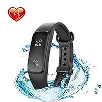 联想健身追踪器带心率监测游泳,G10 防水活动追踪器运动手表带步行计步器*监测卡路里计数器呼叫和短信提醒,适合儿童男女使用