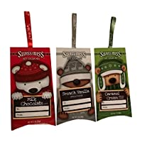 Swiss Miss Hot Cocoa Christmas Ornament Bundle - 3 Single Serving Packs - One Snowman Milk Chocolate, One Reindeer French Vanilla, One Penguin Caramel Cream