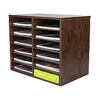 PAG 木质桌面文艺整理器可调节文件分类器信箱中心杂志夹纸存储柜教室保管邮箱适用于办公室家庭学校,12个隔层,棕色