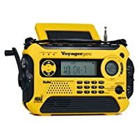 Kaito Voyager Pro KA600 數碼太陽能動力曲柄發條 AM/FM/LW/SW & NOAA 天氣緊急收音機,帶警報、RDS 和智能手機充電器,黃色 標準