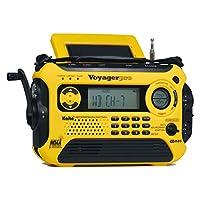 Kaito Voyager Pro KA600 数码太阳能动力曲柄发条 AM/FM/LW/SW & NOAA 天气紧急收音机,带警报、RDS 和智能手机充电器,黄色 标准