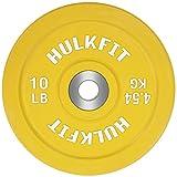 HulkFit 彩色编码奥林匹克两英寸橡胶缓冲板带钢轮用于力量训练、举重和交叉训练,单面