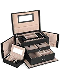 Songmics 皮革首饰盒 旅行盒和带锁储物整理盒