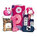 Wolfe & Sparky 豪华粉红色狗狗礼品套装包括一个经典的狗狗毛毯,2 瓶狼和闪耀的自然*产品,*花生黄油狗狗*用品,2 个玩具和 1 把木刷!! !