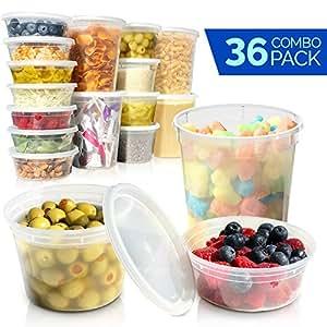 塑料食品保鲜盒带盖子 - 饭店熟食杯/非常适合纤薄、派对用品、餐具和部分控制 - 防漏和微波炉*洗澡套装 - 不含 BPA 透明 8, 16, 32 oz 43237-2