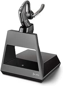 Plantronics 缤特力 蓝牙单声道耳机 Voyager 5200 Office(单向),WindSmart技术,自适应麦克风,IPX4,语音控制按键,NFC,充电底座,带USBA,黑色